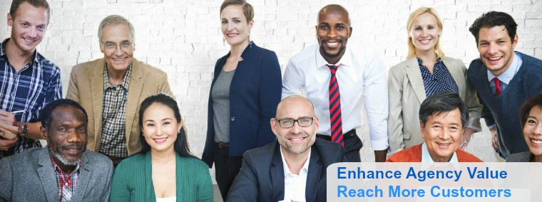 Group of about twenty business professionals of varying ages, ethnic race, gender and sexualities.